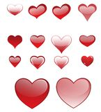 Set of different colored hearts Royalty Free Stock Images