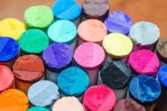 Set of different colored pastel chalk combined together. Stock Photo