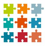 Set of different colored puzzle pieces isolated on white backgro. Und. Parts of multi-colored puzzles. Business concept puzzles. Flat vector cartoon illustration royalty free illustration