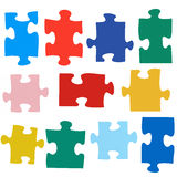 Set of different colored puzzle pieces Royalty Free Stock Images
