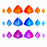 Set of different colored vector fire flame. In flat style Stock Images