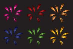 Set of different colored vector fireworks vector illustration