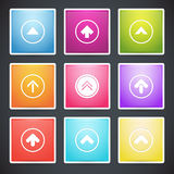 Set of different colorful arrows buttons. Stock Photo