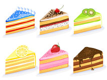 Set of different colorful cakes Stock Photos