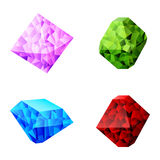 Set of different colorful diamonds Royalty Free Stock Photo