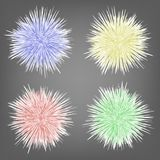 Set of Different Colorful Fur Spheres Background Royalty Free Stock Images