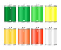 Set of different colorful icons from the battery charge level fully charged after full discharge, green,yellow,orange,red with a m. Inus and plus electric pole vector illustration