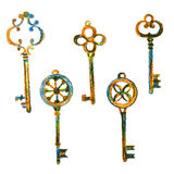 Set of different colorful key, hand drawn doodle vector illustration isolated on white background, painted coloring. Set of different colorful keys, hand drawn royalty free illustration