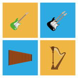 Set Of Different Colorful Musical Elements Stock Images