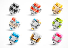 Set of different colorful pens. On white background Vector Illustration