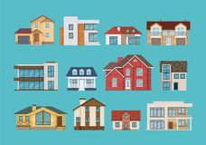 Set of colorful suburban houses and cottages, family vacation houses. Set of different colorful suburban houses and cottages, family vacation houses, mansion Stock Image