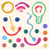 Set of different colorful symbols, lamp, smile Stock Photo