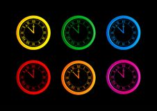 Set of different colorful vector clocks Royalty Free Stock Images