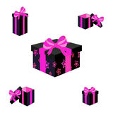 Set of different colorful wrapped gift boxes. Flat design. Beautiful present with bow. Symbol and icon for Christmas gift box. Iso Royalty Free Stock Photo