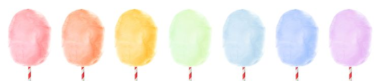 Set of different colorful yummy cotton candy on white background