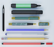 Set of different colorfull office tools laying side by side Royalty Free Stock Photography