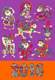 Set of different colors decorative monkey -. Chinese symbol 2016 lunar new years and inscription, you can use for poster, greeting card, celebration design or Royalty Free Stock Image