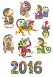 Set of different colors decorative monkey -. Chinese symbol 2016 lunar new years and inscription, you can use for poster, greeting card, celebration design, web Stock Photos
