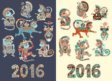 Set of different colors decorative monkey -. Chinese symbol 2016 lunar new years and inscription, you can use for poster, greeting card, celebration design or Stock Images