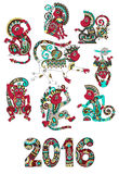 Set of different colors decorative monkey -. Chinese symbol 2016 lunar new years and inscription, you can use for poster, greeting card, celebration design or Royalty Free Stock Photography