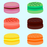 A set of different colors of macaroons vector illustration