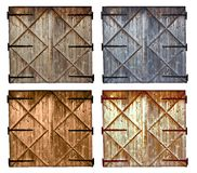 Set of different colors old barn wooden door isolated on white Royalty Free Stock Images