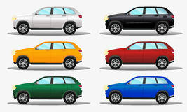 Set of different colors terrain cars: white, yellow, green, black Royalty Free Stock Image