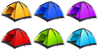 Set of different coloured tents Royalty Free Stock Photography