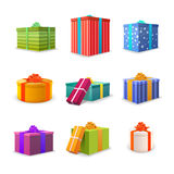 Set of different colourful bright gift boxes with tapes and bows Stock Photography