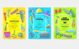 Different construction company brochure cards. Working tools template of flyear, magazines, posters, book cover, banners royalty free illustration