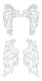 Set of different contour drawing of an angel wings. Stock Image