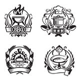 Set of different cooking banners. Set of four monochrome different cooking banners Stock Image