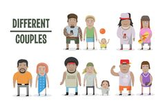 Set of different couples and families. Cartoon style people, with baby. royalty free illustration