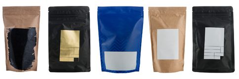 Set of coffee bags stock photo