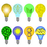Set of Different Creative Glass Bulbs Stock Images