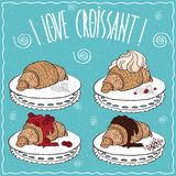 Set of croissants in handmade cartoon style Royalty Free Stock Photography