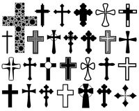 Set of different crosses. Isolated on white Stock Photography