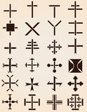 Set of different crosses stencils Royalty Free Stock Images