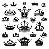 Set of different crowns. Set of black different crowns vector illustration royalty free illustration