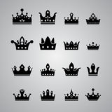 Set of different crowns  on gray background Stock Images