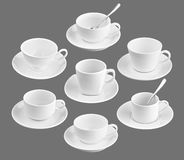Set of different cup of coffee on black royalty free stock photo