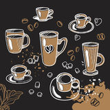 Set of different cup of tea and coffee. Graphic handmade sketch. Vector illustration Stock Photos