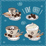 Set of different cups of coffee Stock Image