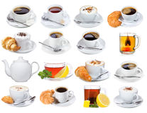 Set with different cups of coffee and tea Royalty Free Stock Photo
