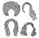 Set different curly hairs  fashion beauty african style . fringe  pencil drawing sketch . Set of  different curly hairs Royalty Free Stock Photography