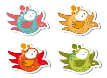 Set of different cute birds stickers Stock Photo