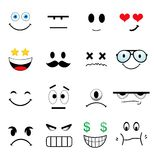 Set Of Different Cute Faces Stock Images