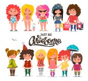 Set of different, cute girls, beautiful princess, flat illustration. Set of different, cute girls, beautiful princess, flat illustration Royalty Free Stock Images