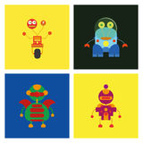 Set Of Different Cute Robots Isolated Stock Photos
