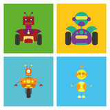 Set Of Different Cute Robots Isolated Stock Photography